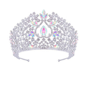 9cm High Large CZ Crystal Wedding Bridal Party Pageant Prom Tiara Crown