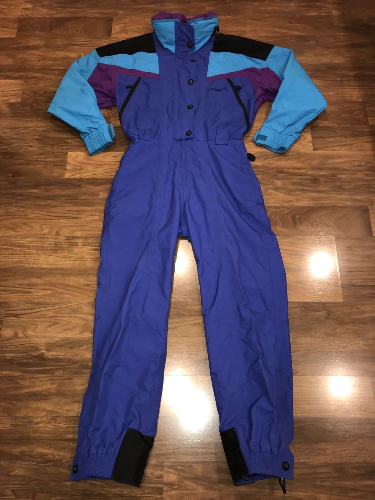 Vtg 80s 90s  NORDICA Womens MEDIUM One piece SKI SUIT Snow Bib neon Snowsuit 8  cheap sale outlet online
