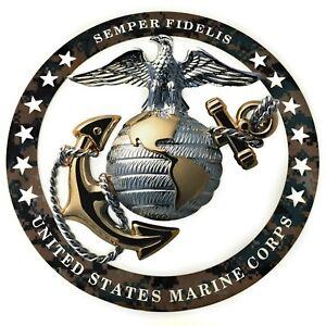 Marine-USMC-Officer-EGA-Round-Camouflage-Magnet-Insignia-4-034-x4-034-SEMPER-FI