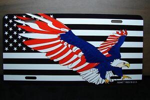 Eagle American Flag Metal License Plate