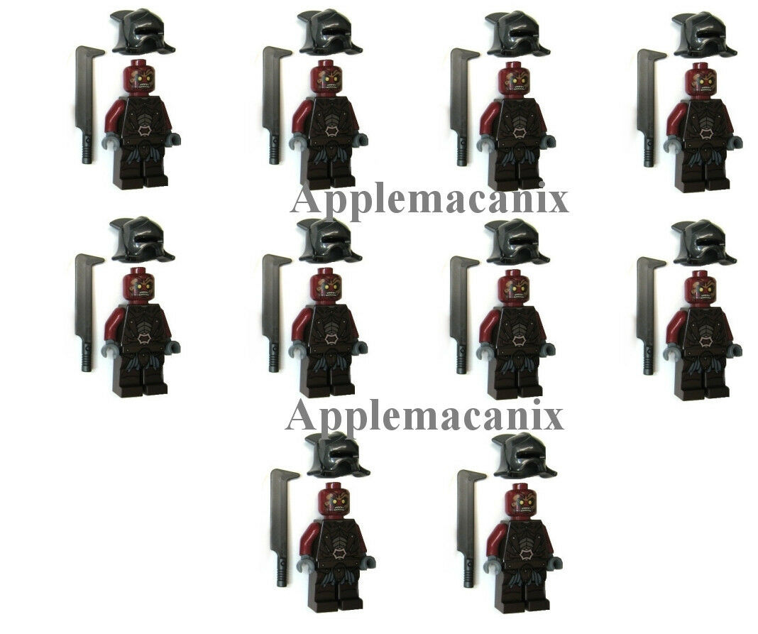 10 LEGO 9471 Lord of the Rings  URUK-HAI ARMY Minicifra cifras Helmet Sword Orc  liquidazione