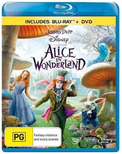 1 of 1 - Alice In Wonderland (2-Disc Set)-BLU RAY+DVD LIKE NEW FREE POST AUS REGION B