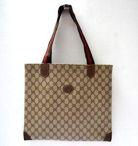 a4698c94d Image is loading Gucci-Vintage-Tote-Medium-Handbag-Shoulder-Bag-Shopper-