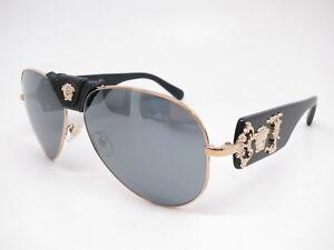 9ca2b662ab New Versace VE 2150Q 1252 6G Pale Gold w Grey Mirror Black Leather ...