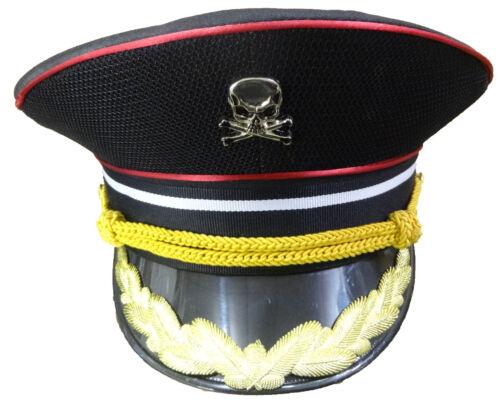 Militaire en Coton Noir Chapeau Avec Bordure Dorée et métal Skulls 58 cm