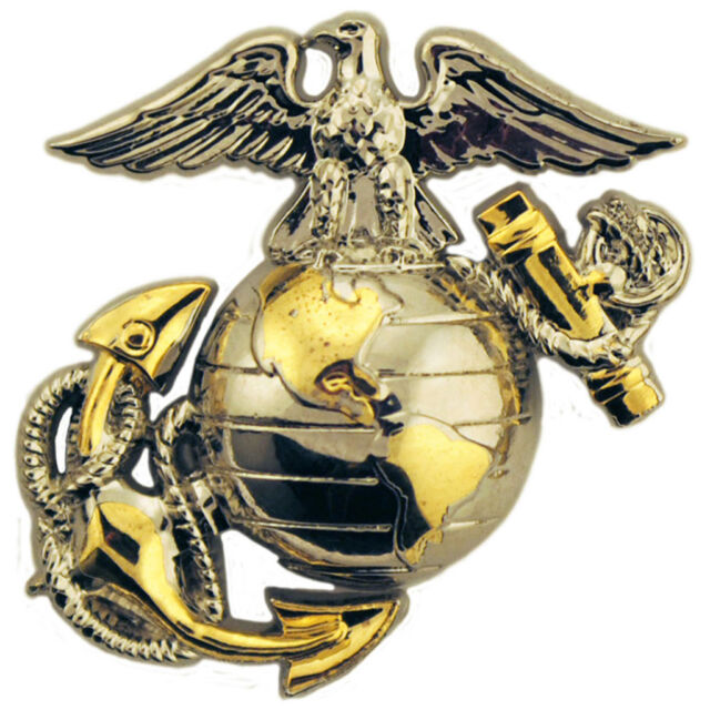 Us Marine Corps Emblem B2 Left Collar Gold Silver Usmc Pin Ebay