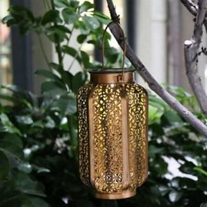 Solar LED Hanging Light Retro Hollow Lantern Outdoor Garden Yard Decoration Lamp