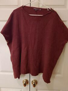 Women-Vince-Rust-Wool-Cashmere-Sleeveless-Layering-Lagenlook-Sweater-Size-M