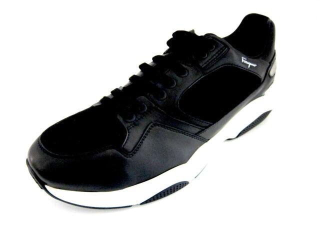 Salvatore Ferragamo Lisbona 7 Mens Black Tennis Shoes 8 D(m) US Made ... 0429c4a86a