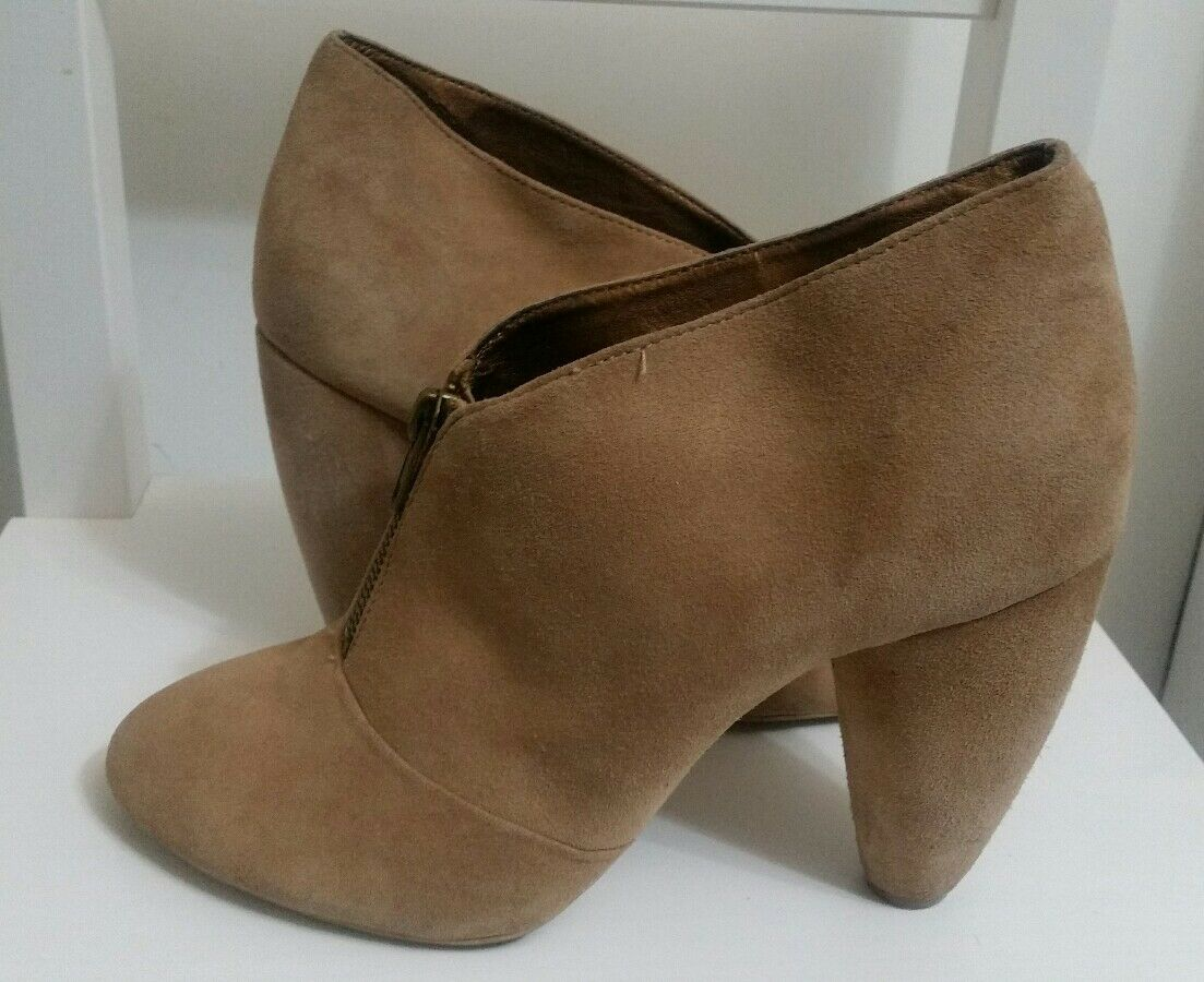 Ladies DEENA & OZZY Ankle Boots Size 6.5 UK Faux Suede High Heel Beige Shoes