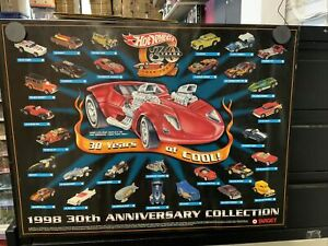 Hot Wheels Mattel Target 1998 30th Anniversary Collection Promo Poster 18 x 24