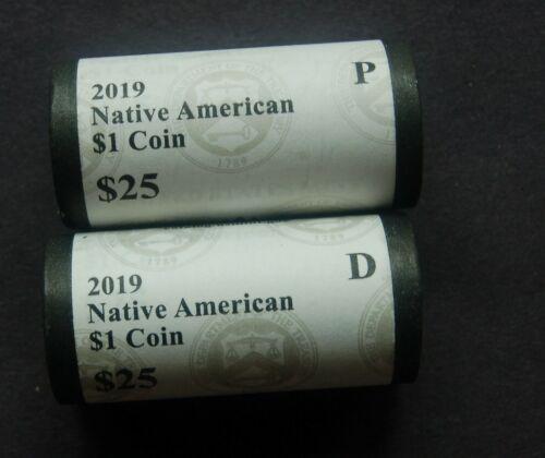 Mint Native American 2019 P and D U.S SAC dollar rolls set.