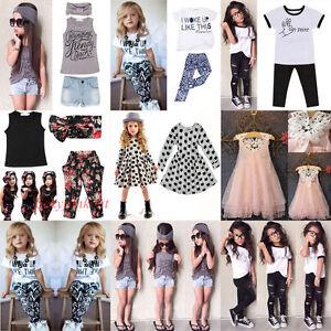 Bebe-Fille-Vetements-Haut-T-shirt-Floral-Pantalon-Headband-Enfants-Ete-Outfits