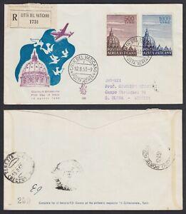"""Vaticano 1953 P. A. """"Cupoloni"""" serie di 2 val. su FDC Venetia n. 195 viaggiata"""