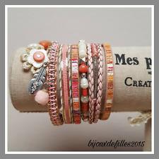 Bracelet LOLILOTA LOL BIJOUX rose aimant fleur perle feuille strass feuille