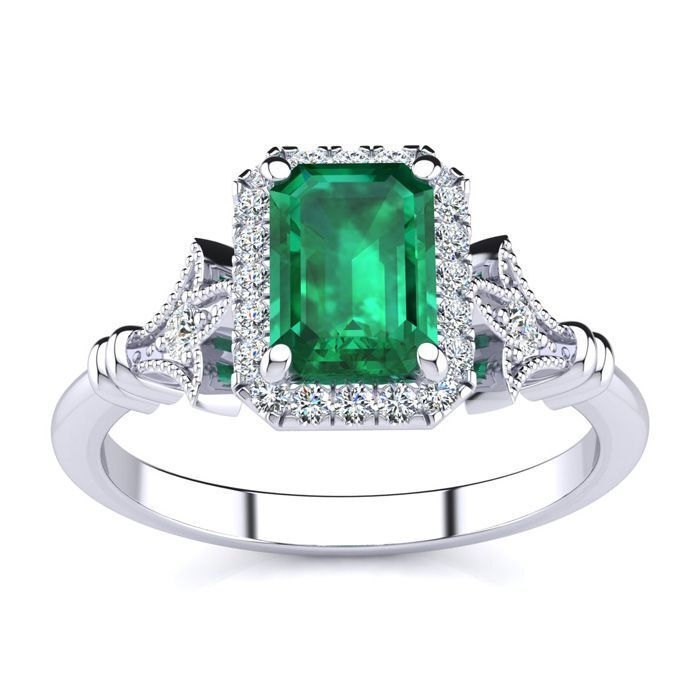 14 Kt gold 1 1 4Ct Emerald Cut Emerald and Halo Diamond Vintage Ring in 3 colors