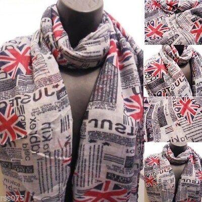 Union Jack Flag Print Scarf Fashion Scarves Shawl Wrap New Gift UK Newspaper