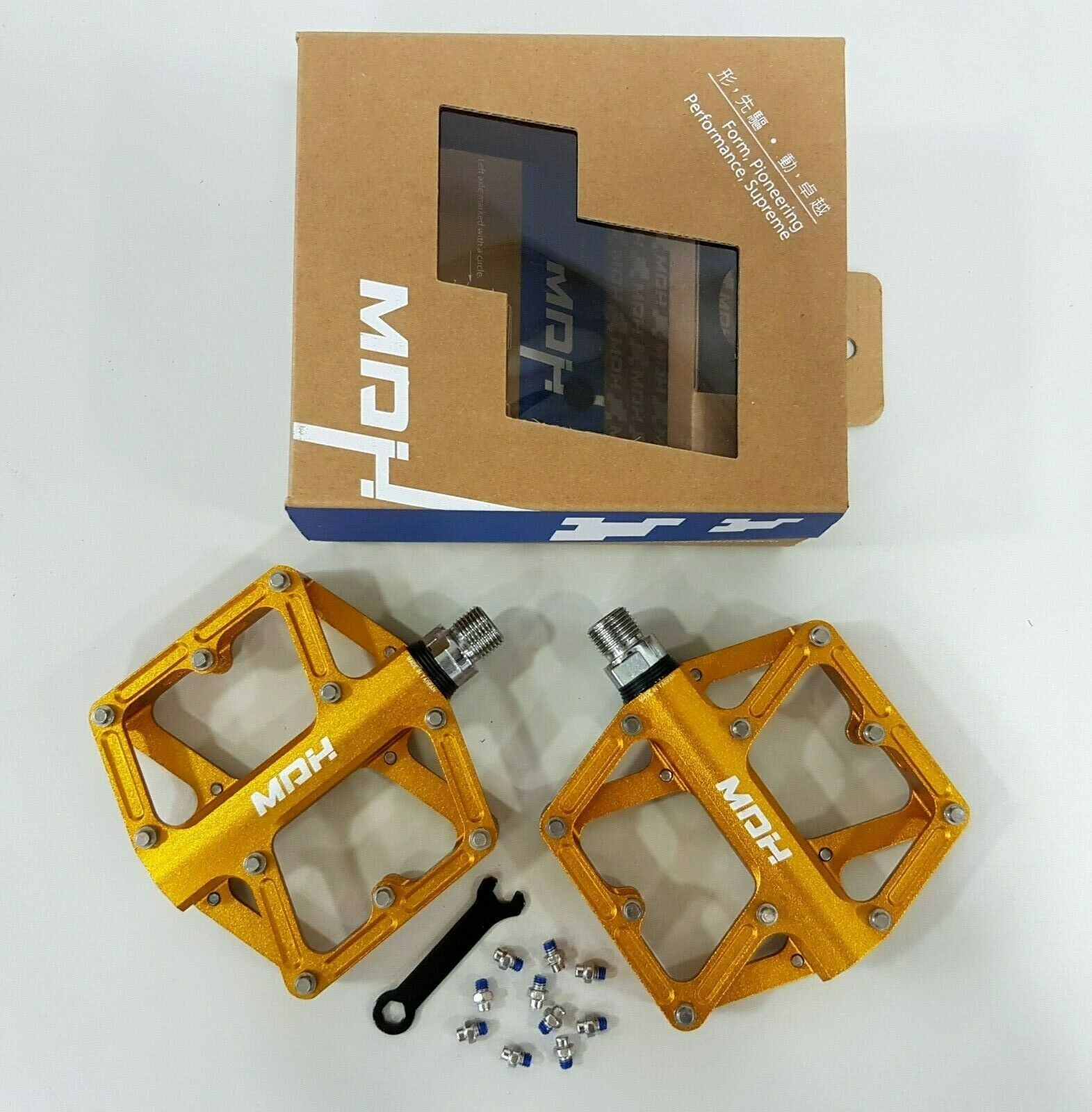 MDH Offroad PXC03 101.5x100x25.5mm 367g Aluminum CrMo Bicycle Pedal oro