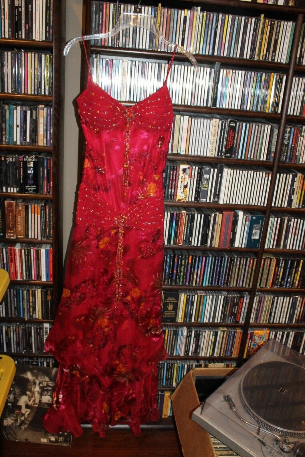 Sue Wong Nocturne Silk Crepe rot floral beaded long  Dress Ladies 2 (b165)