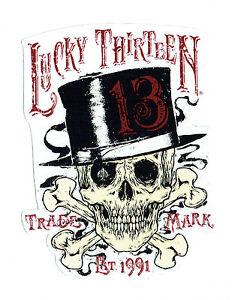 Lucky 13 Sticker Skull Tophat Hot Rod Drag Race Skull Tattoo Ebay