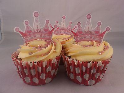 15 Princess Tiara *WAFER* Edible Cupcake Cake Toppers *Standups*
