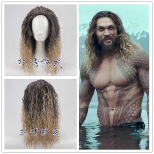 2018 Justice League Cosplay Aquaman Wigs Brown Curly Wave Wig Halloween Props