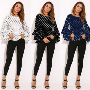 Fashion-Womens-Bell-Sleeve-Loose-Polka-Dot-Shirt-Ladies-Casual-Blouse-Tops-Plus