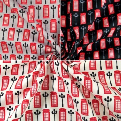 100/% Cotton Poplin Fabric John Louden Phonebox Lampost London British