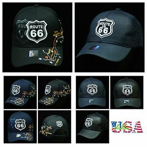 fbb6d0bcd Details about Baseball Cap Snapback Fashion Dad Hat Adjustable Mesh Trucker  Caps Route 66