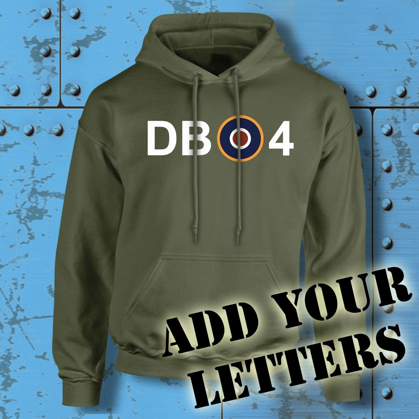 Spitfire Hoodie Target Personalised Initials Military WW2 RAF MOD Lancaster Hood