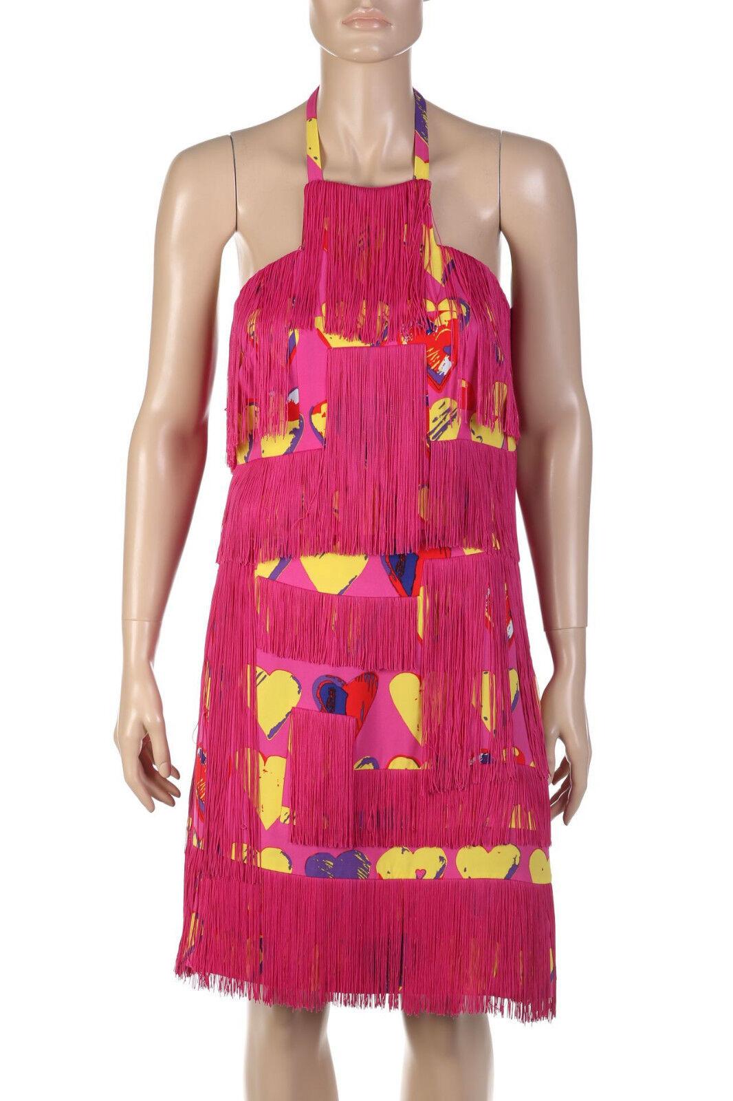 Versace Fransen Outfit Croptop & Highwaist Rock Rosa mit gelben Herzen NEU