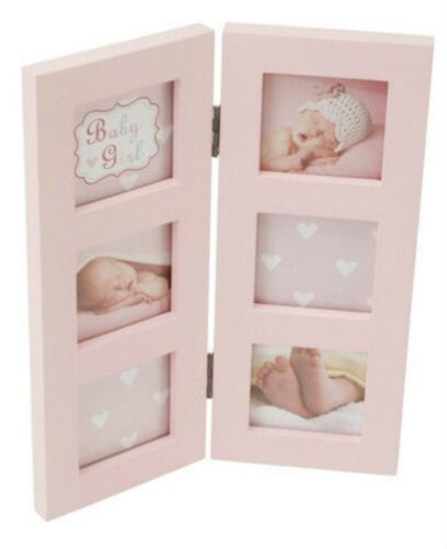 Baby Blue or Pink Folding Multi Picture Photo Frame Christening New Born Gift