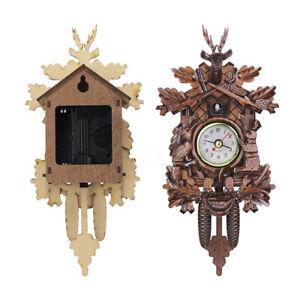 Vintage-Cuckoo-Clock-Forest-Quartz-Swing-Wall-Alarm-Handmade-Room-Decor-U