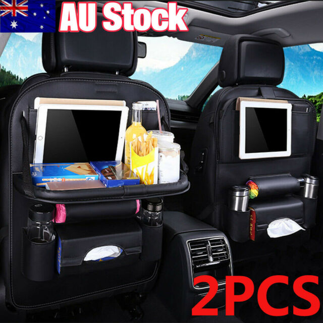 CAR SEAT STORAGE ORGANIZER COMPUTER CUP HOLDER WITH FOLDABLE TABLE TRAY POCKET