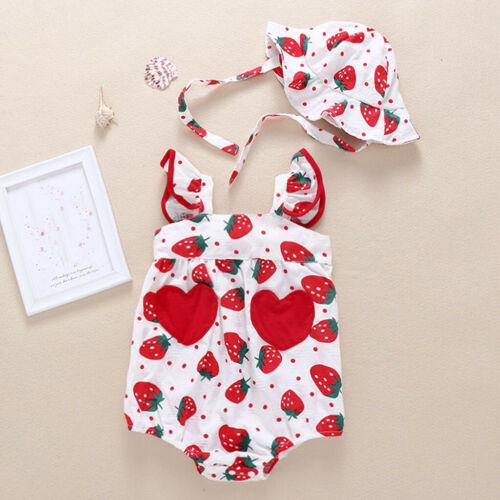 Newborn Infant Baby Girls Straps Strawberry Print Romper Sunsuit Hat Bodysuit US