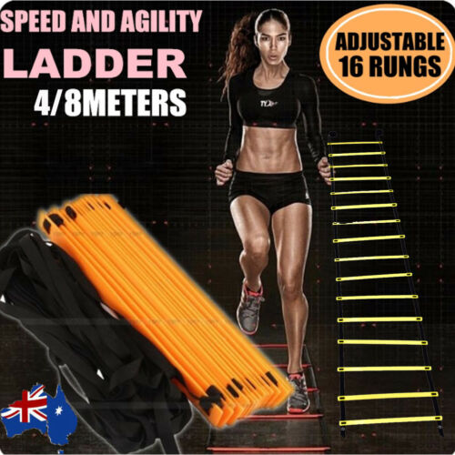 48M 16Rung Speed Agility Training Ladder Footwork Football Soccer Fitness WBag