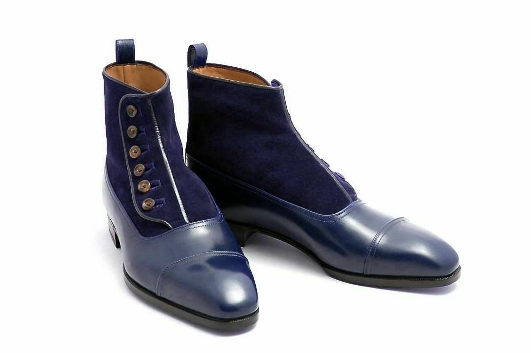 MENS HANDMADE  BUTTON Stiefel NAVY Blau ANKLE HIGH CAP TOE LEATHER & SUEDE schuhe