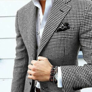 Men-Houndstooth-Dogstooth-Blazer-Suit-Checkered-Dinner-Wedding-Prom-Tuxedos-Suit