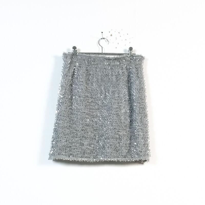ZUCCA gris plastic tag applique elastic waist mini jupe M