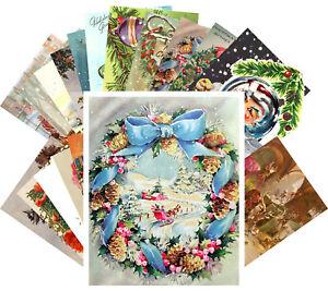 Postcards-Pack-24-cards-Vintage-Christmas-Santa-Animals-Tree-Ornaments-CE5013