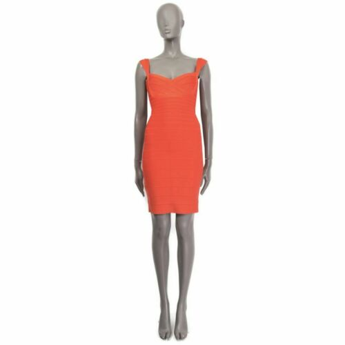 60870 HERVE LEGER coral red rayon Sleeveless ABRIE