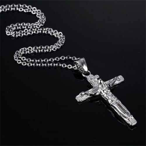 Fashion Stainless Steel Crucifix Jesus Cross Pendant Necklace Chain Men Jewelry