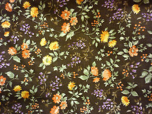 VINTAGE-1980-039-S-FABRIC-REMNANT-SMALL-BROWN-FLORAL-PRINT