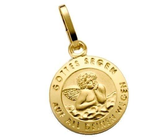 Anhänger 585 Gold Taufanhänger Engel Gottes Segen auf all deinen Wegen