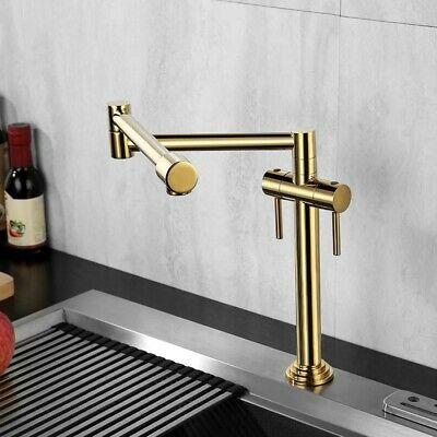Polished Gold Deck Mount Pot Filler Kitchen Faucet Brass Retractable Faucet  Tap | eBay