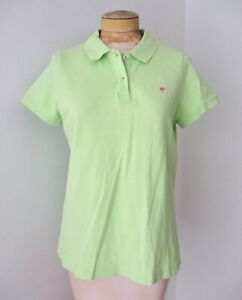 Lilly Pulitzer lime green polo shirt top pink palm logo pique pima cotton knit L
