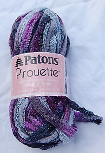 NEW Smoke Free Home Patons Pirouette Yarn ORCHID SHIMMER Ruffle Scarves