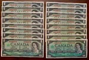 16-X-Canadian-Centennial-1967-1-Notes-with-Serial-Number-VF