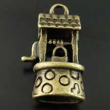 20pcs Antiqued Bronze Tone Well Pendant Charm Retro Craft 8*15*22mm 08226