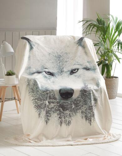 Neuf Imprimé Animal Réversible Sherpa Throw Chaud Fourrure Lit Canapé Couverture 130 cm x170cm